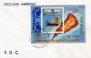 Timor (Ocussi-Ambeno) 1981  Ships-Zeppelin ovpt.Royal Wedding FDC  Imperf.