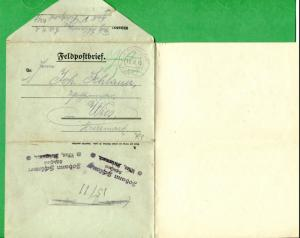 GERMANY FOLDED LETTER COVER - K.U.K. Feldpostbrief Multiple Cancels - FC214