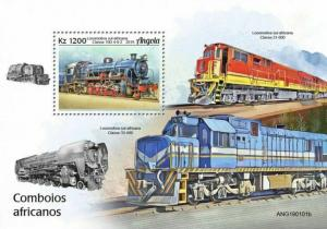 Z08 IMPERF ANG190101b ANGOLA 2019 African trains MNH ** Postfrisch