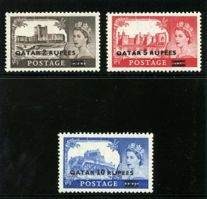 Qatar 1957 QEII Type II Surcharges set complete MLH. SG 13a-15a.