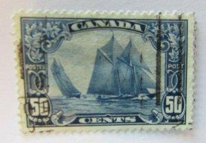 1929 Canada  SC #158  BLUE NOSE - SCHOONER  Used VF 50 cent stamp
