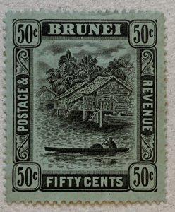 Brunei 1920 50c black on blue-green, unused, toned. Scott #35, CV $11.  SG 45a