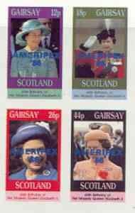 Gairsay 1986 Queen's 60th Birthday imperf sheetlet contai...