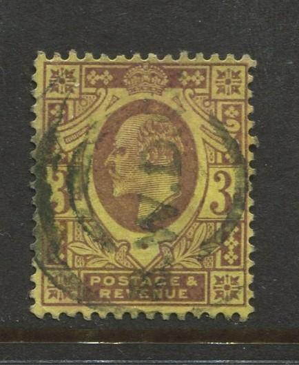 Great Britain  #132  Used 1902 Single 3p Stamp
