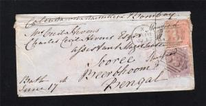 6d NO CORNER LETTERS + 4d SMALL CORNER LETTERS USED ON 1863 COVER TO INDIA