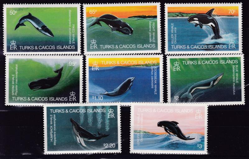 Turks & Caicos 1983 WHALES complete (8)  VF/NH(**)