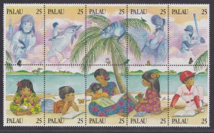 Palau # 220, Children Reading, Block of Ten Different Stamps, NH, 1/2 Cat.
