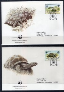 Seychelles Zil Elwannyen Sesel 106-109 Turtles Set of Four WWF Typed FDC