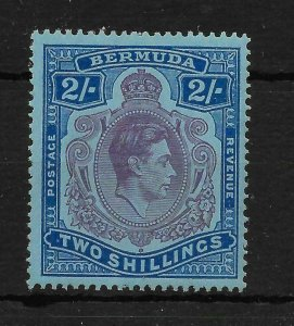 BERMUDA SG116df 1943 2/= PURPLE & BLUE ON PALE BLUE GASH IN CHIN VAR MTD MINT