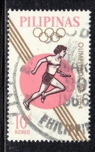 PHILIPPINES  SC# 916  USED  10c 1964  OLYMPICS     SEE SCAN