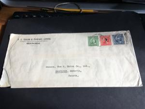 China to Canada #299,301 & 302 Used to Pay Postage on Cover From Shanghai
