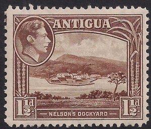 Antigua 1938 – 51 KGV1 1 1/2d Brown MM SG 100 ( M905 )