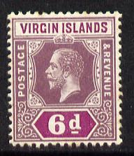 British Virgin Islands 1913-19 KG5 MCA 6d dull & brig...