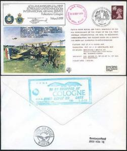 FF1-Aa 60th Ann of the 1st Scheduled UK Int Air Mail Service Standard (A)