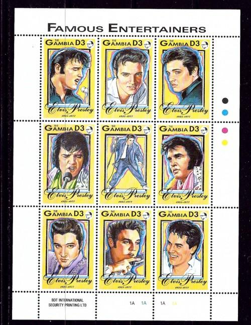 Gambia 1397 NH 1993 Elvis Presley Sheet of 9