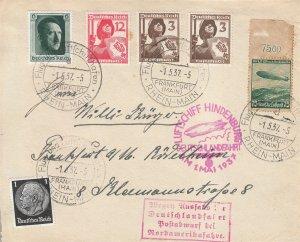 Cover Hindenburg 1937 Zeppelin Germany Munich Koln Last Flight Naz Era LuftPost