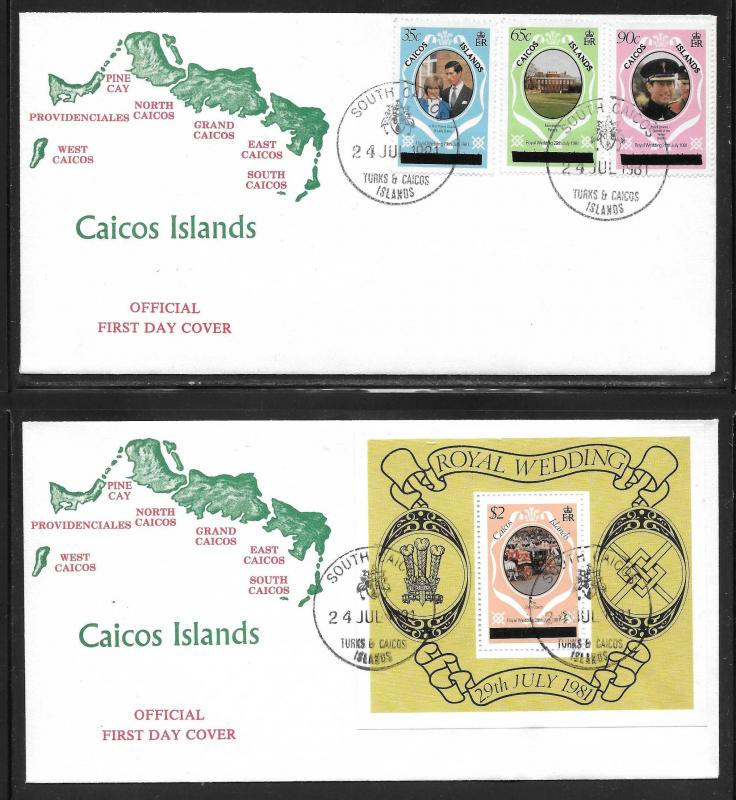 Caicos Islands 8-11 Diana Wedding set and s.s. Unaddressed FDC