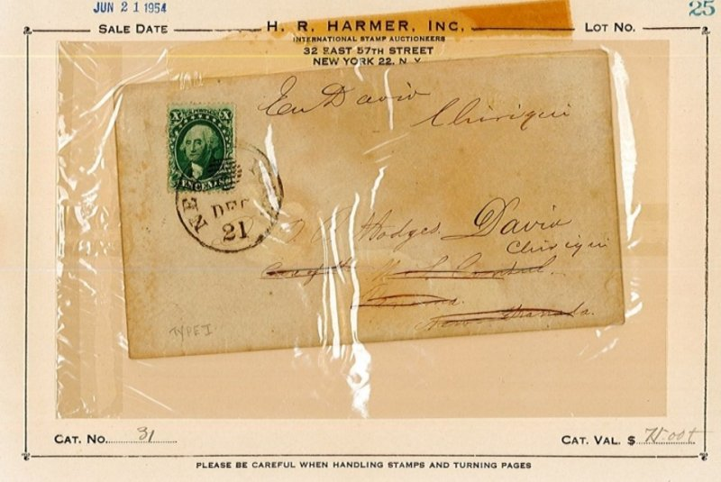Scott 31 type 1 10cent green on cover with original letter