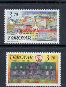 Faroe Islands Sc 222-3 1991 Torshaven stamp set mint NH