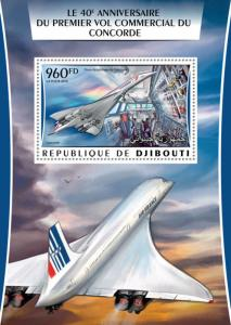 Djibouti 2016 MNH Concorde First Commercial Flight 1v S/S Aviation Stamps
