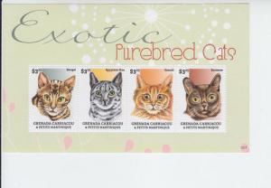 2013 Grenada Gren Exotic Purebred Cats MS4 (Scott 2872) MNH