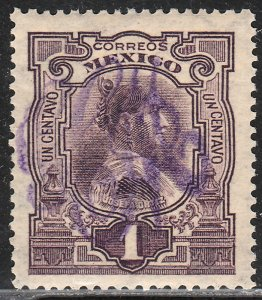 MEXICO 370, 1¢ LARGE MONOGRAM HANDSTAMP, CREASED, MINT, NH. F-VF.