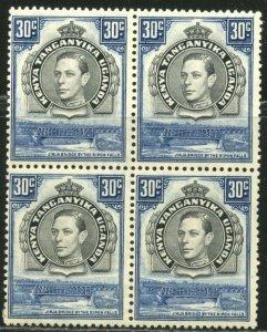 KUT Sc#76b SG141 Block of 4 1938 KGVI 30c Perf Variety Mint Hinged