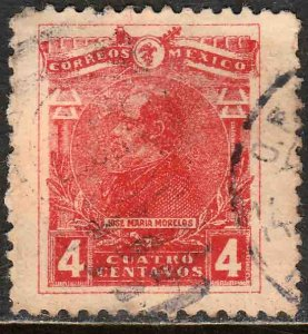 MEXICO 509, 4¢ MORELOS, USED. F-VF. (362)
