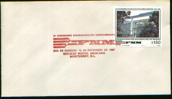 MEXICO 1530 FDC 50th Anniv Nationalization of Mex. Railways