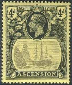 ASCENSION-1924-33 4d Grey-Black & Black/Yellow CLEFT ROCK. L.mounted Sg 15c