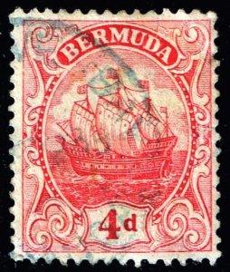 UK STAMP BERMUDA  1910 -1925 Caravel 4P RED YELLOW PAPER USED