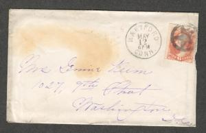 US Sc#159 Hartford CT CDS+Star Carrier B.S. Cover