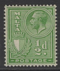MALTA SG158 1926 ½d YELLOW-GREEN MTD MINT