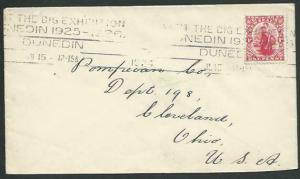 NEW ZEALAND 1924 cover to USA, Dunedin slogan VISIT THE BIG EXHIBITION.....12344
