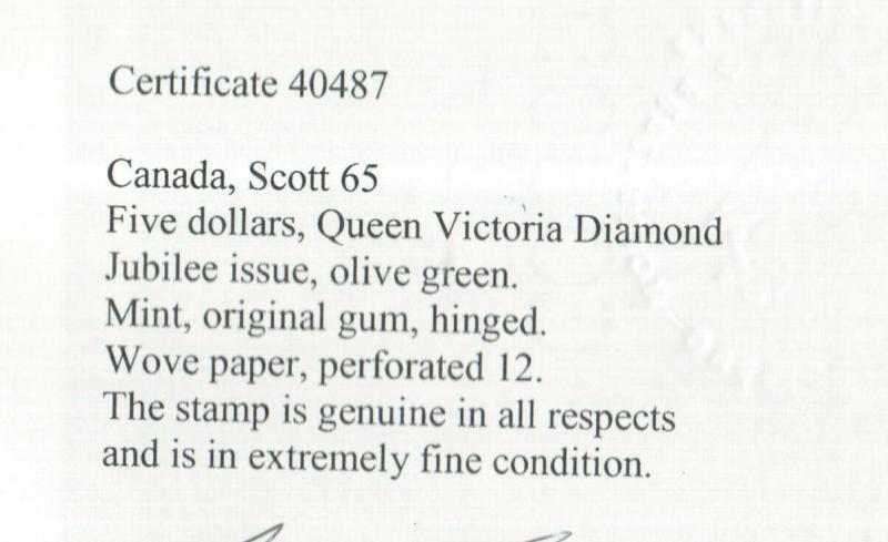 Canada #65 Extra Fine Mint Full Original Gum Hinged **With Certificate**