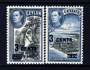 CEYLON King George VI 1940-41 3c. Surcharge Issues SG 398 & SG 399 MINT