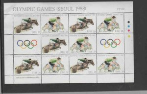 IRELAND #712-713  1988 SUMMER OLYMPICS    MINT  VF NH  O.G  SHEET 10 + 2l