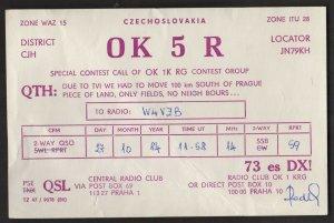 QSL CARD OK 5 R,84,Radek, Czechoslovakia(Q4436)