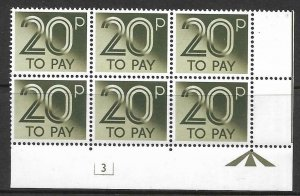 D96 20p 1982 Decimal Postage Due Cyl 3 UNMOUNTED MINT