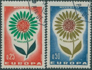 Monaco 1964 SG806-807 Europa flower set FU