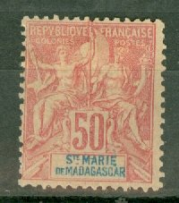 B: St Marie de Madagascar 11 unused no gum CV $52.50