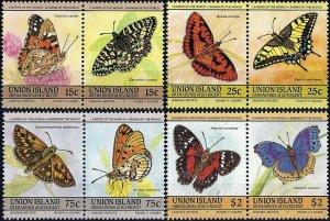 1985 St. Vincent, Union Island Schmetterlinge, MiNr. 94-101 ** KAT 6€ SCHÖN!