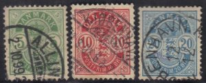 DENMARK SCOTT# 43,45,48 USED 5,10,20o 1895-1901    SEE SCAN