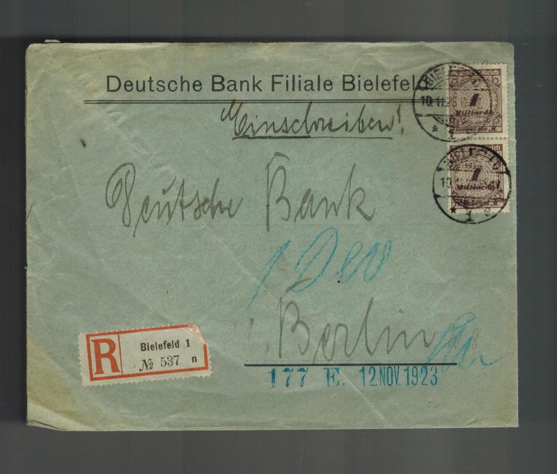 1923 Bielefeld Germany Inflation cover to Berlin Deutsche Bank