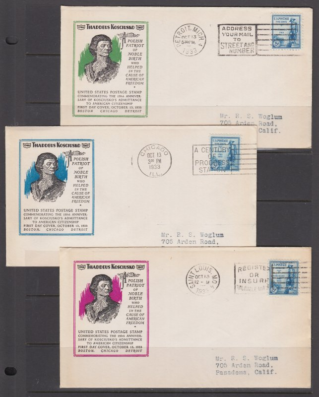 US Mel 734-5 FDC. 1933 5c Kosciuszko, 3 Ioor cachets, 2 unlisted colors, F-VF