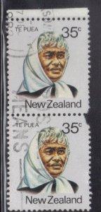 NEW ZEALAND SC# 721 **USED**  35c  1980  TE PUEA VERT. PAIR   SEE SCAN