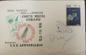 A) 1969, CUBA, CUBAN POSTCARD ROCKET, PHILATELIC CIRCLE SQUARE OF TH