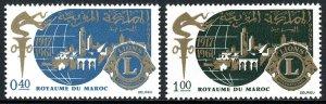 Morocco 157-158, MNH. Lions Intl., 50th anniv. Torch, Globe, Town, Emblem, 1967
