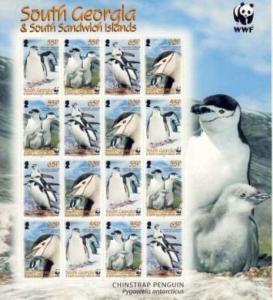 South Georgia 2008 Penguins & WWF 16 Stamp Sheet Scott #367-70 19C-002