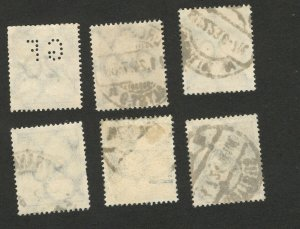 GERMANY -6 USED SAME OLD STAMPS-ONE STAMP PERFIN,PERFINS (341)